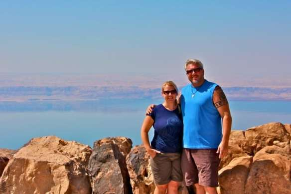 Dead Sea Overlook with Israel in the distance
