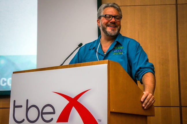 Bret Love of Green Global Travel Speaking at TBEX Athens, Photo by Vera Wolters