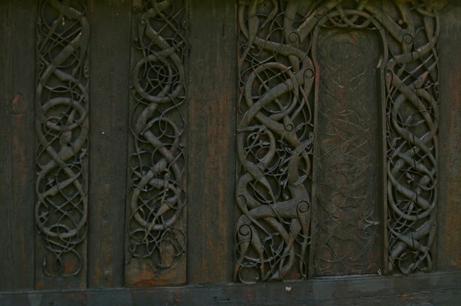 North wall of Urnes Stave Church, Norway