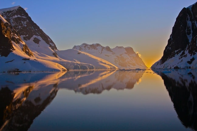 Sunset on the Lemaire Channel, Antarctica