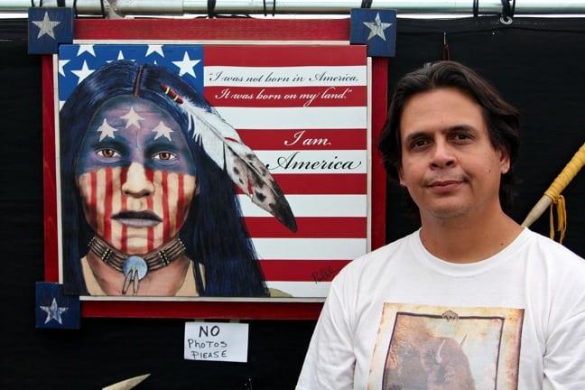 Artist Paul DeLuna at north Georgia Pow Wow