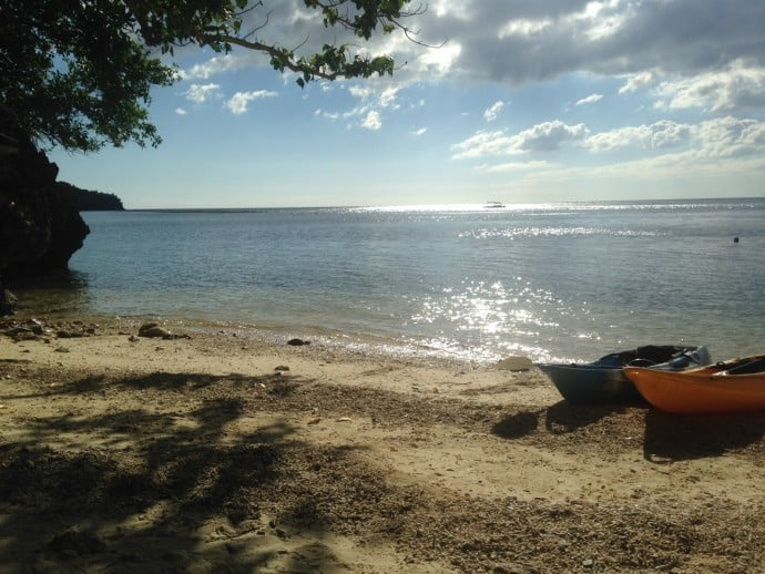 Philippine Island of Danjugan - Typhoon Beach and our kayaks