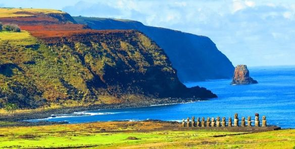 Rapa Nui National Park Easter Island Cliffs with Moai Statues