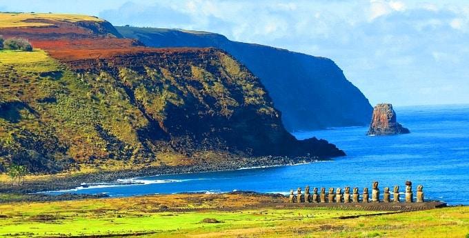 Rapa Nui National Park Easter Island Cliffs with Moai Statues