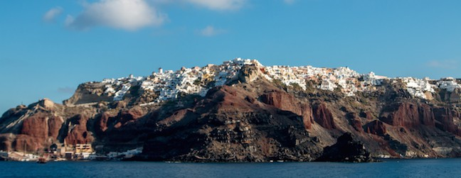 Panoramic photo of Santorini, Greece from the Mediterranean Sea