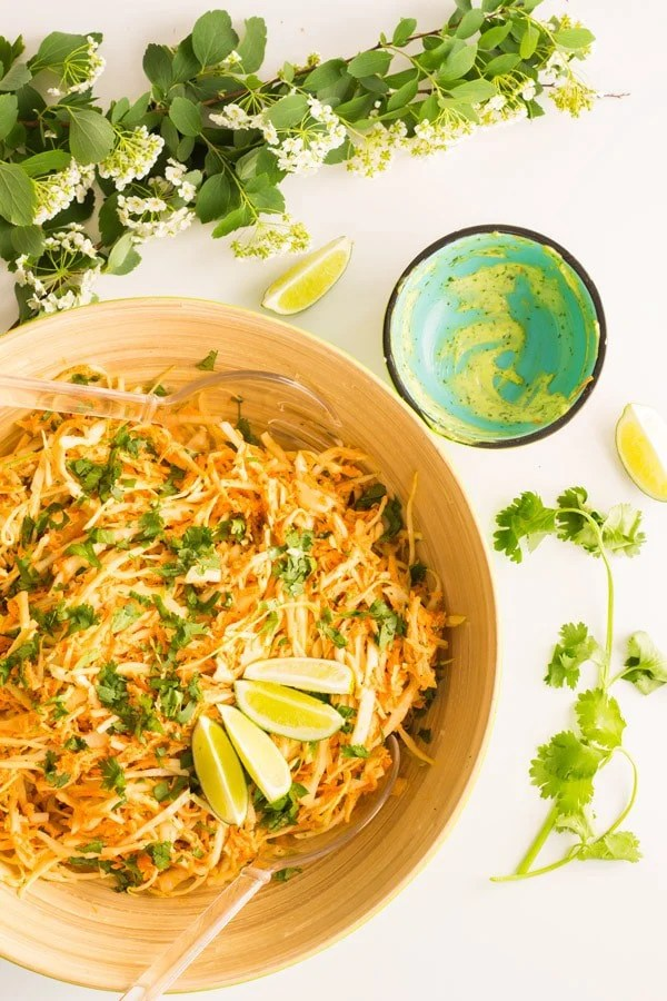 Cabbage Carrot Salad with Cilantro Lime Mayonnaise - Green Healthy ...