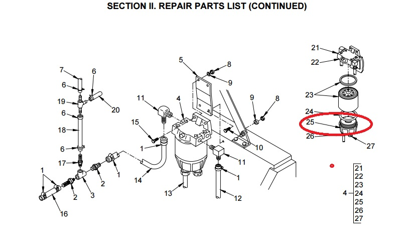 fuel water separator filter assembly