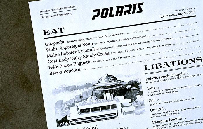 Menu design for Polaris restaurant in Atlanta, GA Restaurant - a la carte menu template