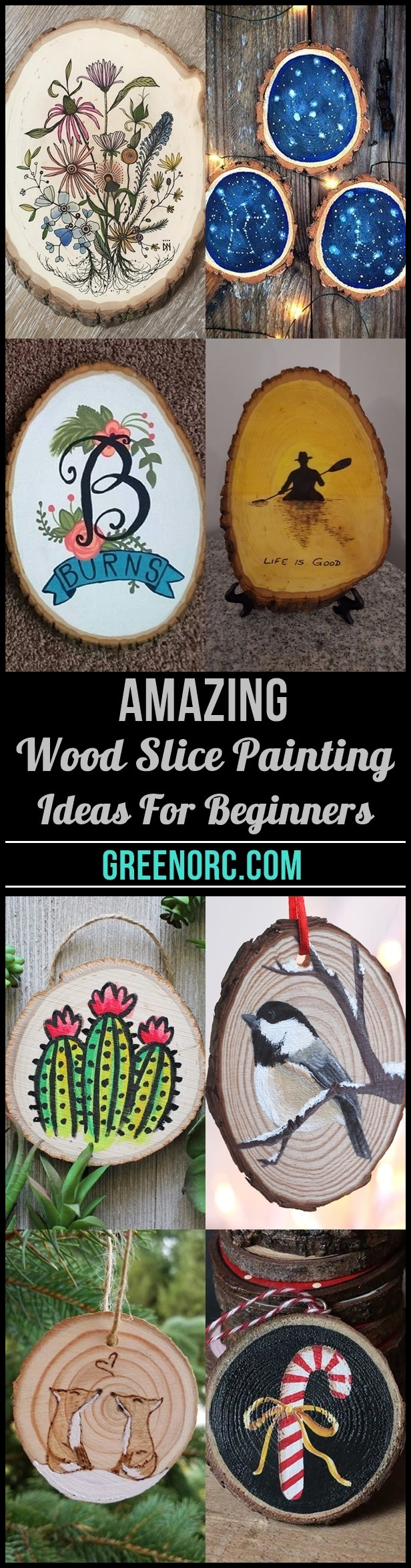 40 Amazing Wood Slice Painting Ideas For Beginners Greenorc