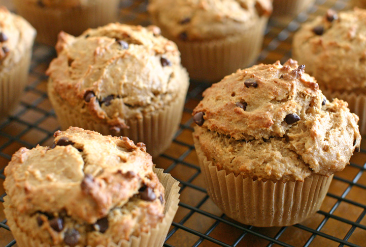 Peanut Butter Banana Chocolate Chip Muffins