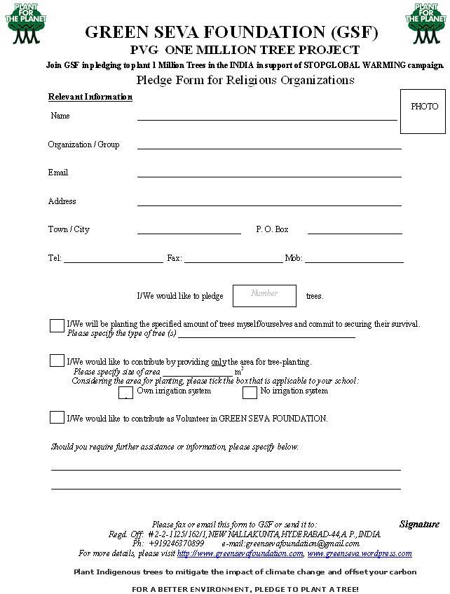donation pledge form template – Pledge Form