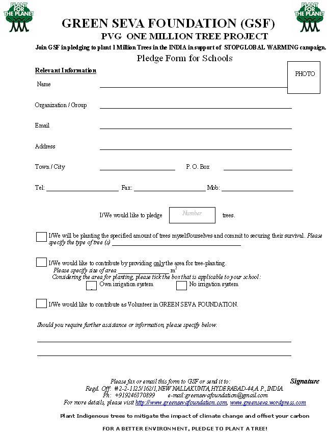 General Pledge Form GREEN SEVA FOUNDATION