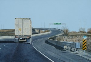 6. THE PILGRIMS PROGRESS - HIGHWAY 403   J. Paterson   acrylic on board   28 x 39 cm  2012