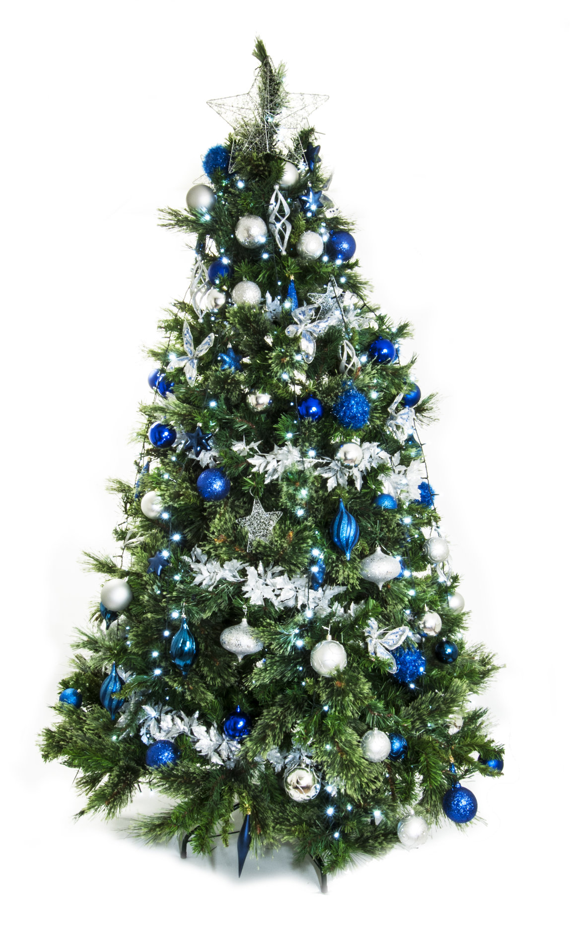 Zilveren Kerstboom Full Width Live Christmas Tree Silver And Blue Green