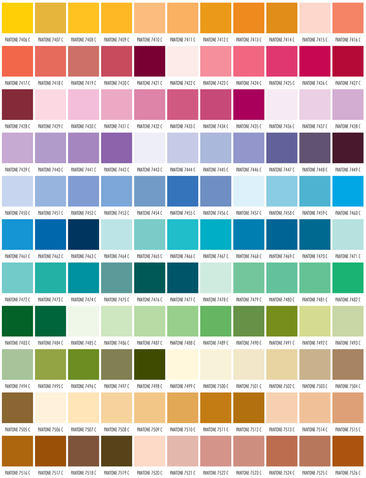PMS Color Chart - sample pantone color chart