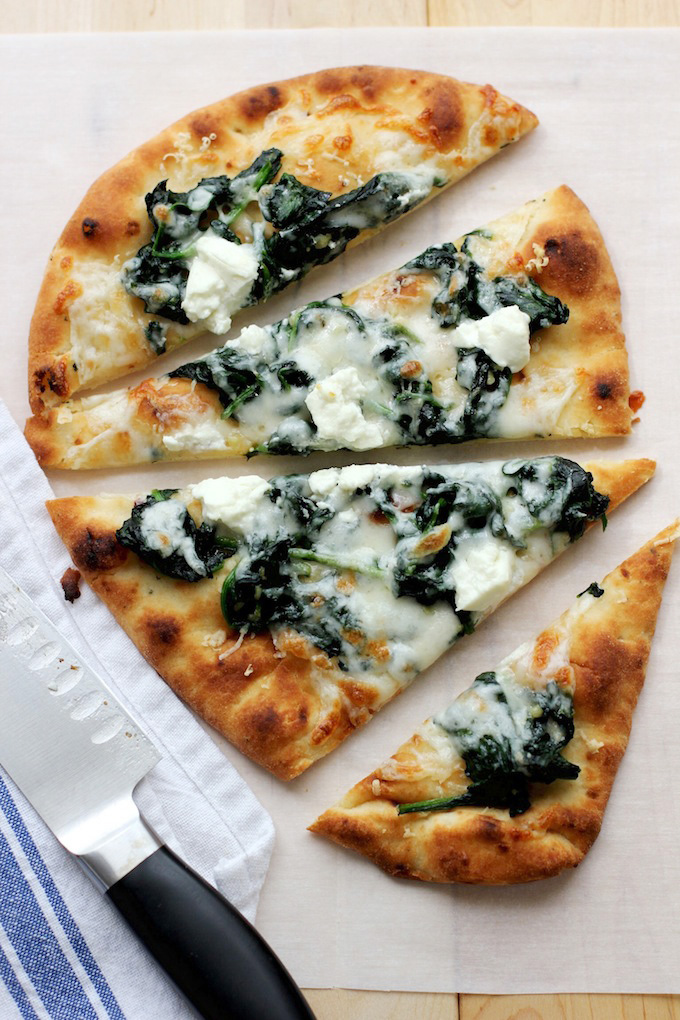 Flatbread Pizza with Spinach and Goat Cheese - Green Valley Kitchen