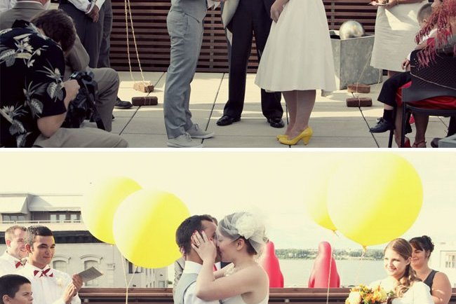yellow balloons + first kiss