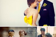 giant yellow bow wedding dress
