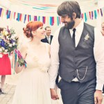 colorful bunting wedding