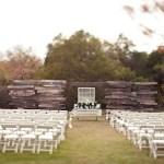 outdoor wedding, wood altar