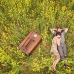 anniversary shoot in a mustard field