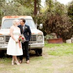 bride and groom old truck