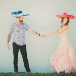 bride and groom wearing sombreros