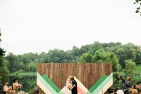 wooden chevron painted backdrop