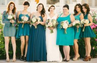 shades of blue bridesmaids