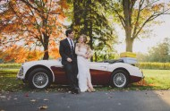 bride and groom car