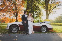 bride and groom car