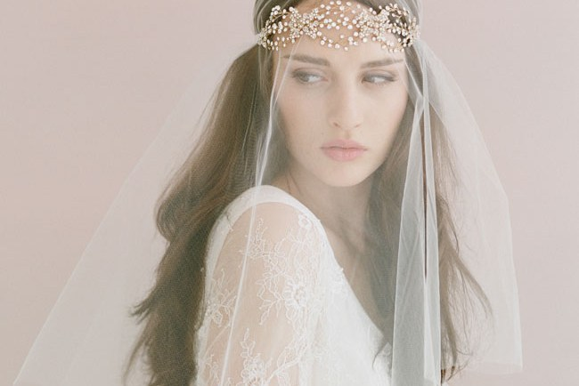 crystal headband with veil