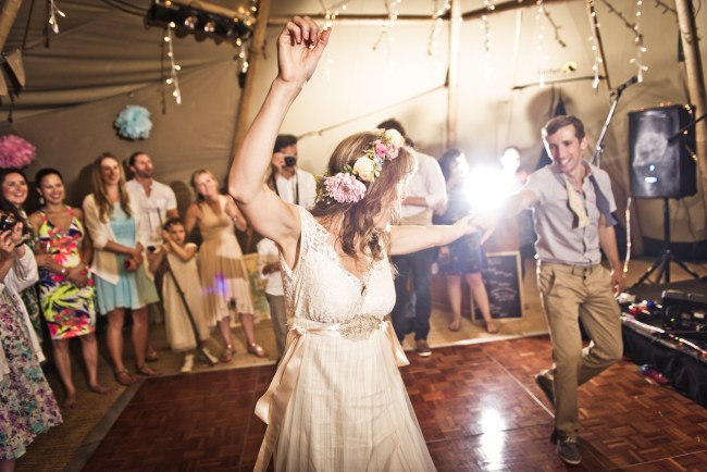 Bride and Groom Dancing to a Band