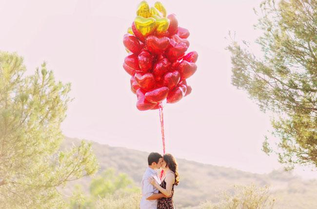 red heart balloon engagement