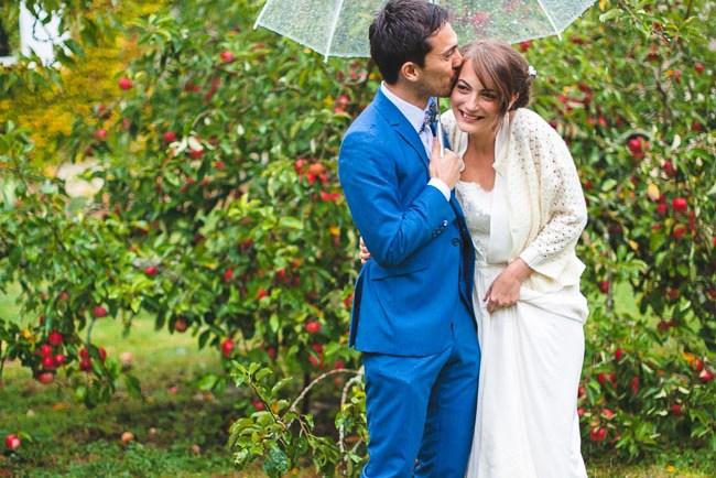 rainy french wedding