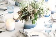 blue dipped vases