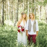 wooded bride and groom