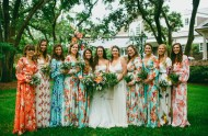 Maxi floral bridesmaid dresses