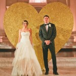 giant gold glitter heart wedding
