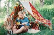 boho camping engagement