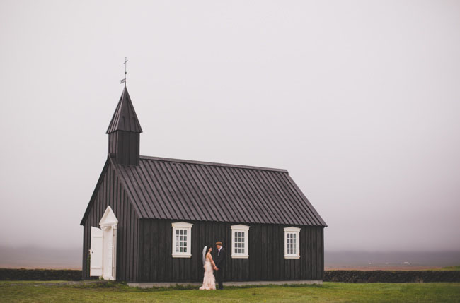 Icelandic black church wedding