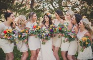 colorful rustic bridesmaids