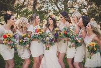 colorful rustic bridesmaids