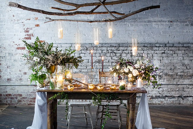 hanging candles tablescape