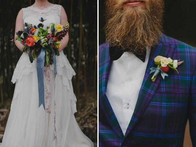 plaid grooms suit