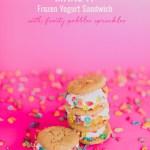 Frozen Yogurt Sandwich with Fruity Pebbles Sprinkles