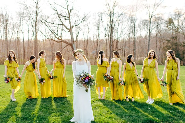 mustard yellow bridesmaids