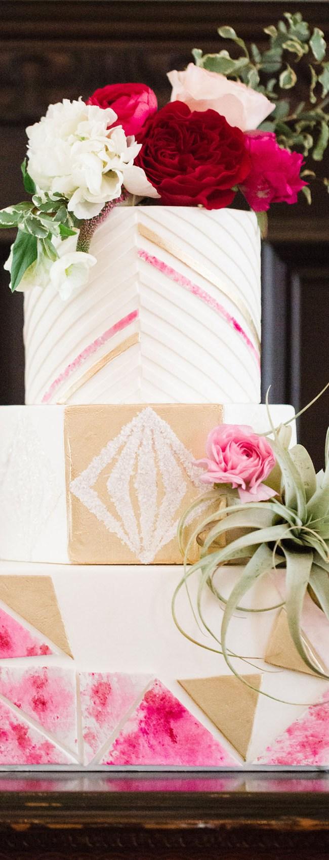 Bright Pink Geometric Cake
