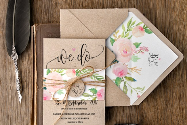 Boho Floral Wedding Invitations