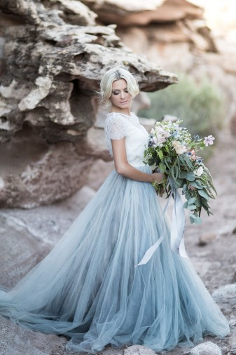 Mae - A Hand Painted modern tulle wedding gown with Silk Tank bodice and Lace Crop Top